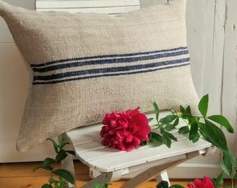 Authentic Grain Sack Body Pillow Sham Navy Blue Stripes / Antique linen / Handwoven hemp fabric / Handmade Pillow Sham
