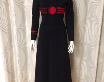 Unusual 1970s vintage Jones New York maxi dress