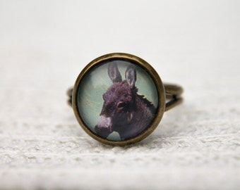 Donkey Ring, Animal Ring, Little Donkey, Donkey, Glass Dome Ring, Adjustable Ring, Statement Ring, Green Ring