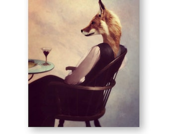 Surreal Fox art fox print fox decor fox painting fox art print fox illustration fox love fox wall art anthropomorphic woodland (3 sizes)