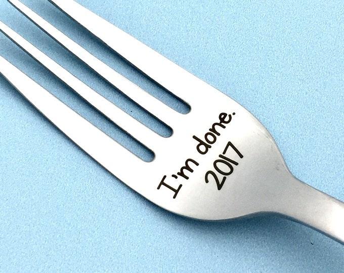I'm done! Engraved Retirement Fork, retired, career, AARP, golden years, grandparent, senior citizen, celebrate, milestone, fork, engraved