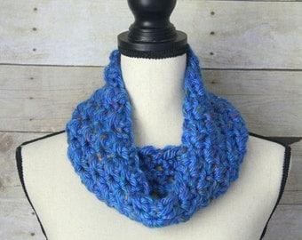 SUMMER SALE - Blue Confetti Simple Chunky Cowl