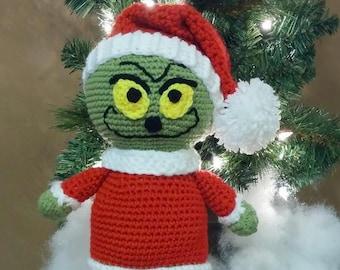 """Grinch doll. Christmas Grinch doll. Crochet Grinch doll. Crochet Christmas Grinch. Handmade Grinch doll. 13"""" tall."""