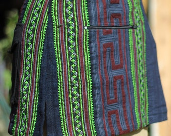 Thai Hill Tribe Antique Hand Embroidered Wrap Festival Skirt with pockets
