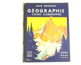Vintage geography book. French geography and atlas primary school book