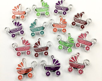 BULK! 14  baby carriage resin charms silver tone and color , 13mm # CH 320