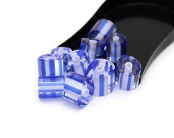 Vintage Tubular Blue Striped Glass.  Hand Cut Limited Quantity Wholesale Beads Apprx. 10mm 4pcs