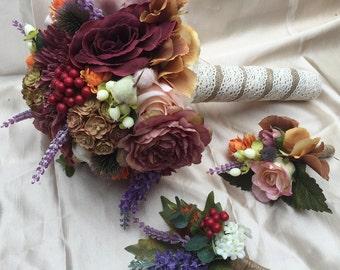 Silk Flower Bouquet - Keepsake Bouquet - Wedding - Bride and Bridesmaid - Made To Order