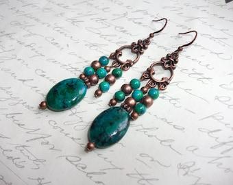 Chrysocolla stones long copper earrings