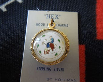 Enamel Bubble Sterling Pennsylvania Dutch Double Hex Sign Charm Distelfink Good Luck Charm On One Side for Bracelet from Charmhuntress 04562