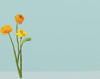 Marigold and daffodil painting, digital flower print on canvas, marigold painting, daffodil painting