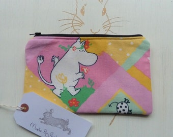 Handmade Moomin Makeup Bag Snork Maiden Cotton Fabric Cosmetic Pencil Case Padded Lined