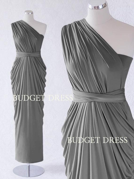 Charcoal Grey Infinity Bridesmaid Dress Transformer Maxi Prom