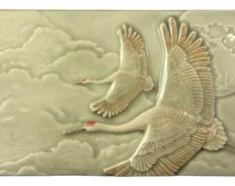 Flying sandhill cranes, Of One Heart, 4x8 inch tile, Celadon Grey