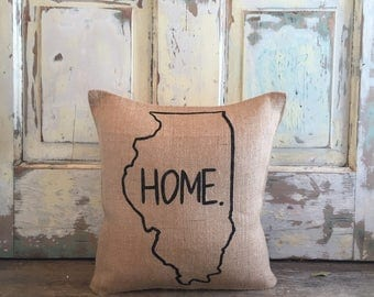 Pillow Cover   Choose Your State   State Pillow   Home pillow   Burlap pillow   Gift for him   Graduation   Housewarming, Moving Gift