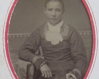Little Girl Lost - 1880's  Sad Young Woman Tintype Photograph - Free Shipping