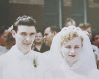 I DO! - 1954 Cute Couple Gets Hitched Color Kodachrome Snapshot Photograph - Free Shipping