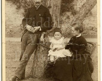 Cabinet Card Photo - Victorian Family by Tree, Man Woman, Child Outdoor Natural Posed Portrait - J M Taylor Stratford England (Damaged)