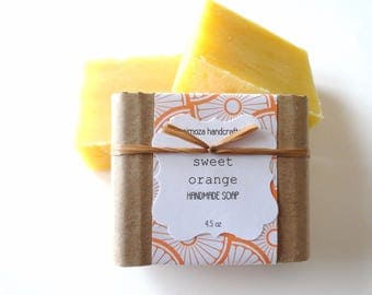 Handmade Sweet Orange Soap, Cold Process Soap, Vegan Soap 4.5oz