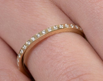 Diamond eternity band, Embedded diamonds , All around diamond band, Thin diamond ring ,Eternity band, Diamond ring, Stackable gold band