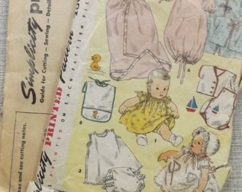 Infant Layette Incl. Bunting, Bag, Bonnet, Dress All 19 Pieces But Missing Transfer Design Vintage 1950s Simplicity Sewing Pattern 1443