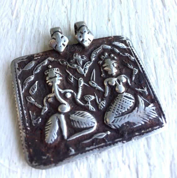 Rajasthan RARE Pendant, Ganesh Parvati, Antique Hindu Amulet, Shiva, Yoga Jewelry, Removes Obstacles, Hindu Dieti , Spiritual Amulet