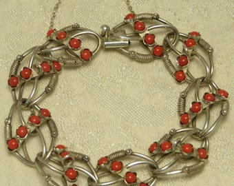 Vintage Signed Peruzzi 800 silver Florence etruscan revival coral fancy chunky link large starter charm bracelet