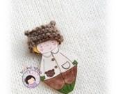 Baby doll. Doll brooch. Pocket doll. Wooden doll. Wooden brooch.