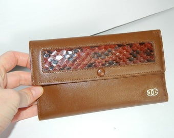 Vintage 1970s Brown Leather and Reptile Wallet Made in Argentina