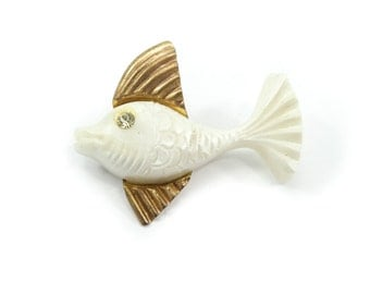 Vintage Lucite Fish Brooch, Cream, Brass Metal, Rhinestone