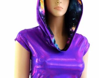 Purple Holographic Cap Sleeve Crop Hoodie & Galaxy Hood Liner Rave Festival Clubwear - 153993