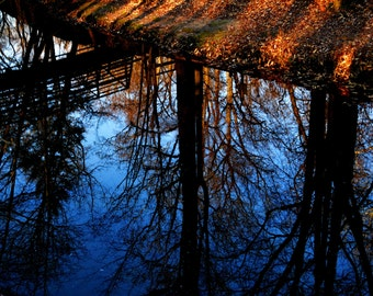 Water Reflection - Wall Art Photo Prints - Foot Bridge - Matted Prints - Signed By The Artist - Rich Colors - Autumn Colors - Photo Art