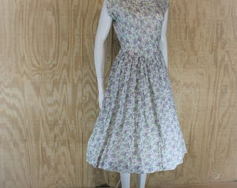 Vintage 1950's Cotton Batiste Lilac Print Corded Neckline Full Skirt Dress Small S