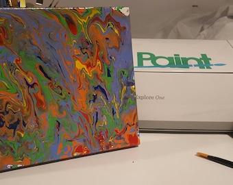 Rainbow Splatter Pouring Medium Painting