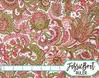 PAISLEY Fabric by the Yard, Fat Quarter Sage Green & Pink Fabric Shabby Chic 100% Cotton Fabric Quilting Fabric Apparel Fabric Yardage t2-13