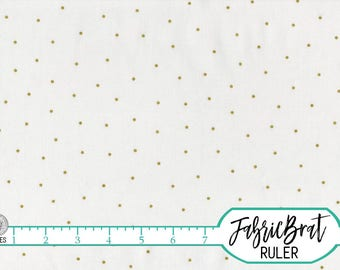 WHITE & GOLD METALLIC Fabric by the Yard, Fat Quarter Metallic Gold Polka Dot Fabric 100% Cotton Fabric Quilting Fabric Apparel Fabric a5-32