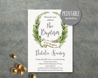 Printable Baptism Invitation, Girl Baptism Invitation, Christening Invitation Boy baptism Invitation, Greenery Baptism Invitation Botanical