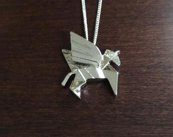 pegasus, pegasus necklace, pegasus wings, origami jewelry, origami necklace, horse, horse jewelry, horse necklace, horse pendant, origami