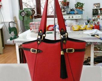 Red LEATHER TOTE BAG,Red Leather Bag, Leather Shoulder Bag,Red Leather Handbag,Leather Tote Bag,Woman Leather Bag, Woman Leather Tote