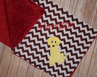 Yellow Labrador Blanket - Personalized Minky Baby Blanket - Brown Chevron & Crimson Minky