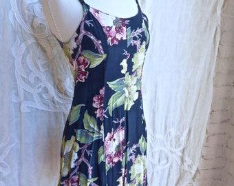 Blue Floral Grunge Mini Dress
