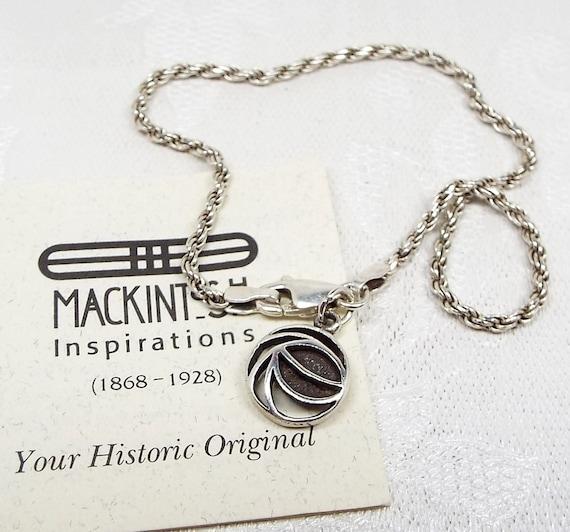 Sterling Silver Charles Rennie Mackintosh Glasgow Rose Charm Bracelet Chain 925