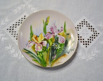 Vintage Ucagco Plate Iris Floral Scene Hand Painted Signed Purple Green PanchosPorch