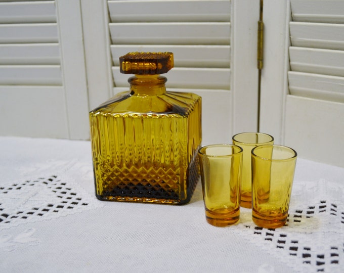 Vintage Amber Glass Decanter Shot Glass Set of 3 Retro Barware PanchosPorch