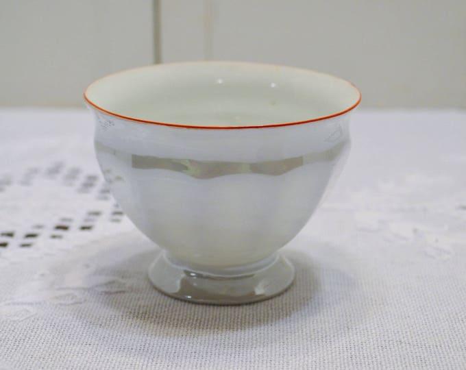 Vintage Sugar Bowl Pearlescent White Red Rim PALT Czechoslovakia Open Sugar Bowl PanchosPorch