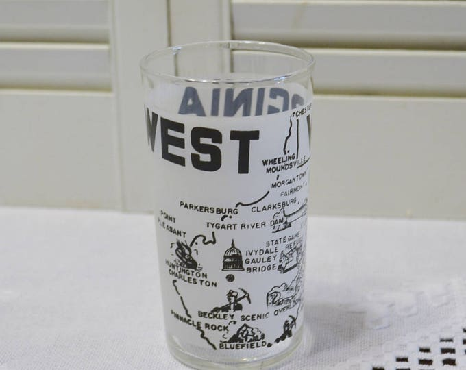 Vintage West Virginia Glass Tumbler State Travel Sovenir White Black PanchosPorch