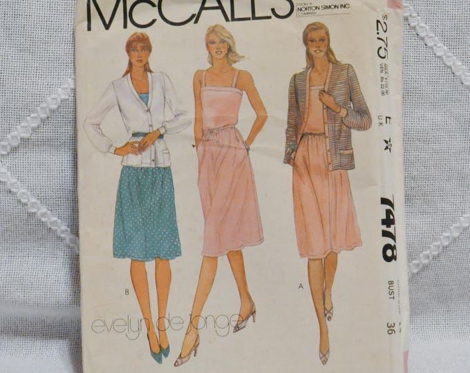 Vintage McCalls 7478 Sewing Pattern Misses Jacket Dress Belt Knits Size 14 Crafts  DIY Sewing Crafts PanchosPorch