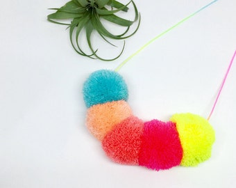 5 pom pom necklace on pastel ombre cord as seen on Oh Joy!