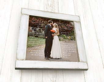 Framed Wedding Gift, Square Frame, 1st Anniversary Gift, Framed Wedding Vows, with Handcrafted Cottage Chic Frame