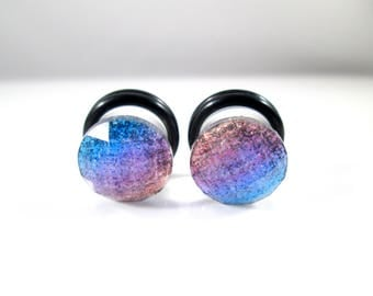 Gold Purple Blue Fade Sparkle Foil Facet  Plugs - Available in 2g, 0g, and 00g